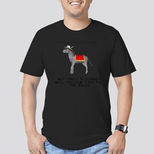 T0035A-DonkeyToRiver-2 Men's Fitted T-Shirt (dark)