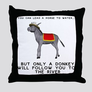 T0035A-DonkeyToRiver-2000x2000 Throw Pillow