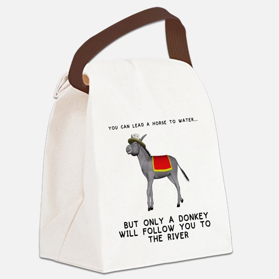 T0035A-DonkeyToRiver-2000x2000 Canvas Lunch Bag