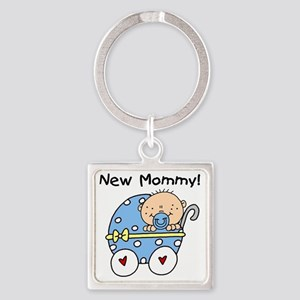 Carriage New Mommy of Boy Square Keychain