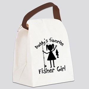 daddys little fisher girl 4 white Canvas Lunch Bag