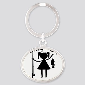 fisher girl 4 white Oval Keychain