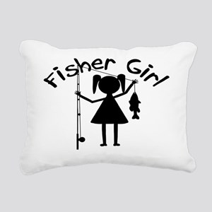 fisher girl 4 white Rectangular Canvas Pillow