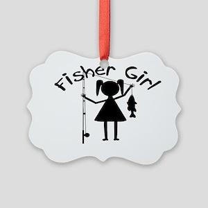 fisher girl 4 white Picture Ornament
