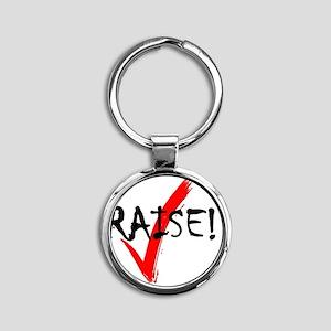 check_raise_bl Round Keychain