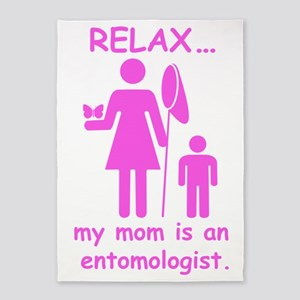 relax mom is entomologist_pink 5'x7'Area Rug