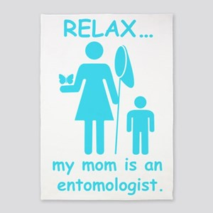 relax mom is entomologist_blue 5'x7'Area Rug