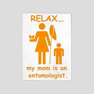 relax mom is entomologist_orange 5'x7'Area Rug