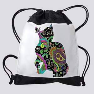 Paisley cat and butterfly Drawstring Bag