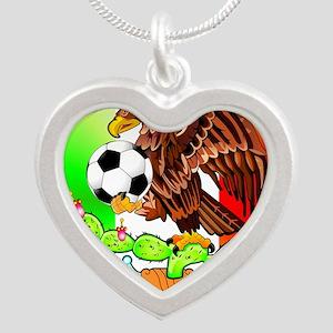 MEXICO SOCCER EAGLE Silver Heart Necklace