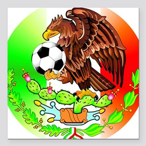 "MEXICO SOCCER EAGLE Square Car Magnet 3"" x 3"""