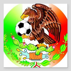 "MEXICO SOCCER EAGLE Square Car Magnet 3"" x 3"""