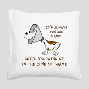 cone of shame3 300res Square Canvas Pillow