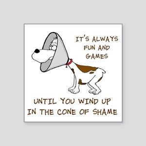 "cone of shame3 300res Square Sticker 3"" x 3"""