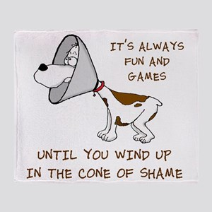 cone of shame3 300res Throw Blanket
