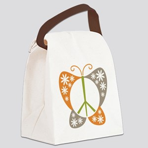 Peace Sign Butterfly Canvas Lunch Bag