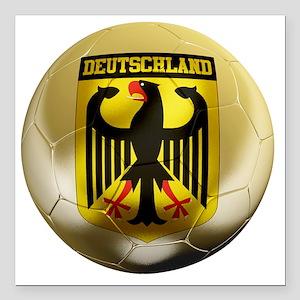 "Deutschland Football1 Square Car Magnet 3"" x 3"""