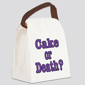 cake or death Blk purple Canvas Lunch Bag