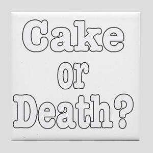 cake or death for dark Tile Coaster