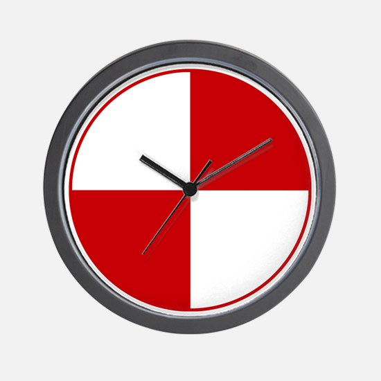 Crash Test Marker (Red and White) Wall Clock