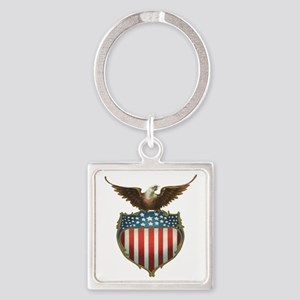 Vintage Patriotic Eagle and Americ Square Keychain