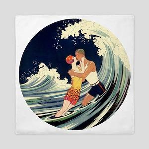 Vintage Art Deco Love Romantic Kiss Be Queen Duvet
