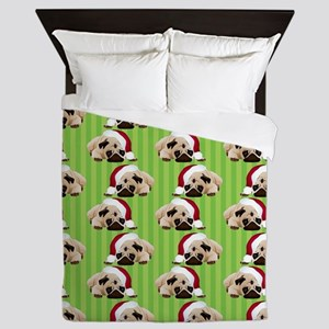 Christmas Pug on Green Stripes Queen Duvet