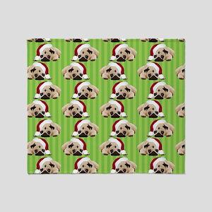 Christmas Pug on Green Stripes Throw Blanket