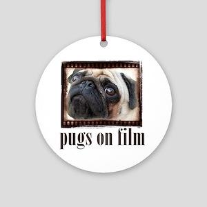 pugs on film white Round Ornament
