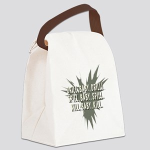 DRILL_BABY_SPILL-grey Canvas Lunch Bag