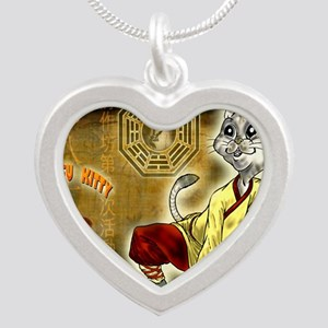 KUNG FU KITTY-CAT MONK TAO Silver Heart Necklace