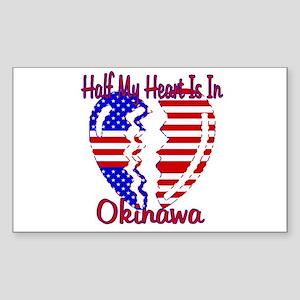 Half my heart is in Okinawa Rectangle Sticker