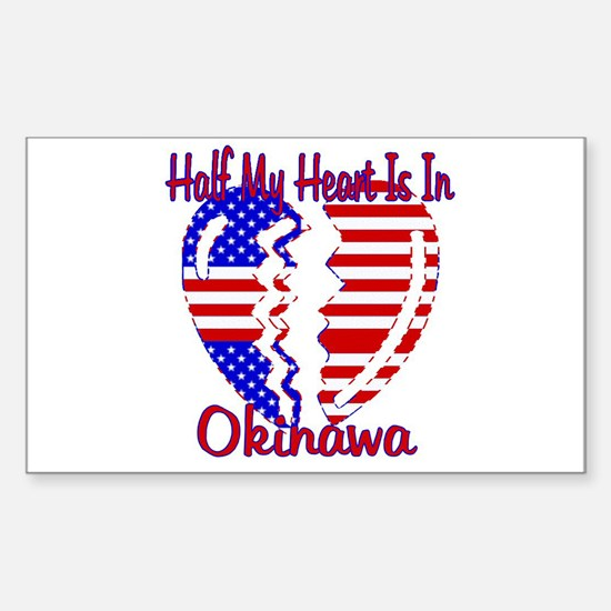 Half my heart is in Okinawa Rectangle Decal