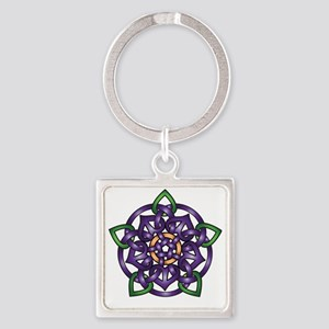 Sabines Purple Rose Square Keychain