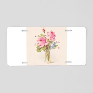 Pink roses in vase Aluminum License Plate