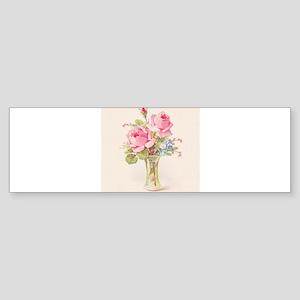 Pink roses in vase Bumper Sticker