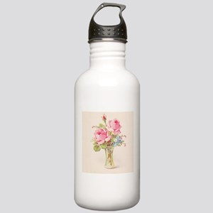 Pink roses in vase Sports Water Bottle
