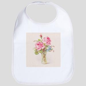 Pink roses in vase Bib