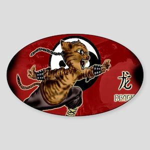 KUNG FU KITTY-CHOW YUN CAT-DRAGON Sticker (Oval)