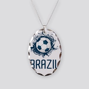 Brazil Football3 Necklace Oval Charm