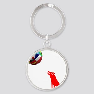 Howling At The Moon Round Keychain