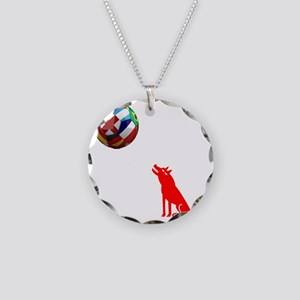 Howling At The Moon Necklace Circle Charm