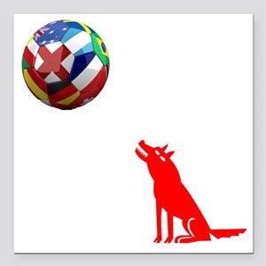 "Howling At The Moon Square Car Magnet 3"" x 3"""