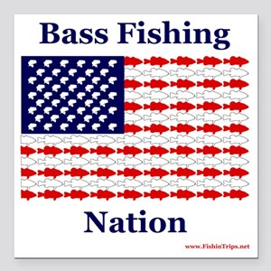 """bass nation Square Car Magnet 3"""" x 3"""""""