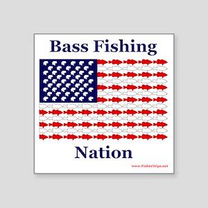 "bass nation Square Sticker 3"" x 3"""