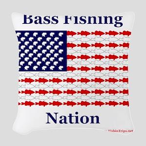 bass nation Woven Throw Pillow