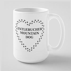 entlebucher mountain dog paw heart Mugs
