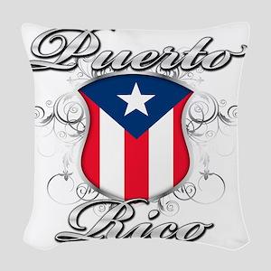 puerto rico b Woven Throw Pillow