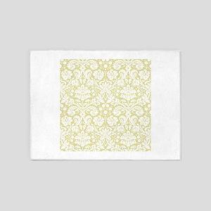 Matte gold damask pattern 5'x7'Area Rug