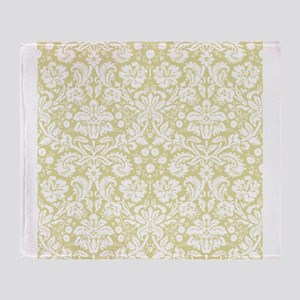 Matte gold damask pattern Throw Blanket